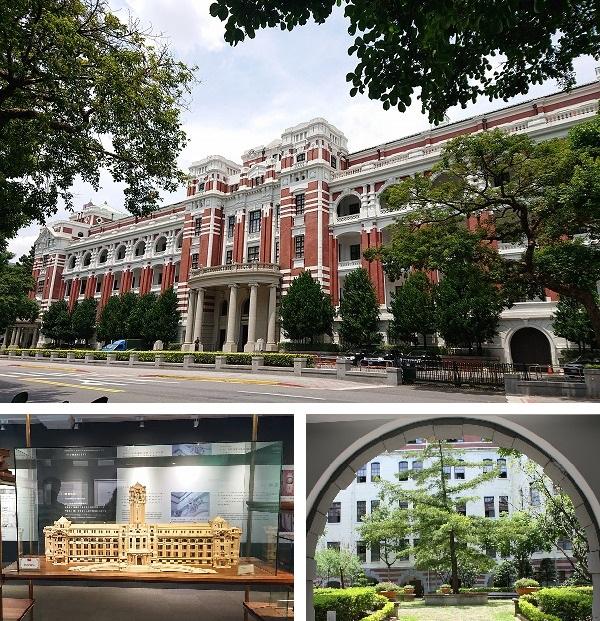 台湾総統府の裏手側と、模型と中庭